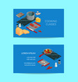 cooking food isometric business card vector image vector image