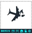 Crash plane icon flat vector image vector image