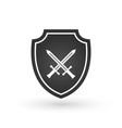 crossed swords and shield isolated on white vector image