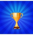 Cup of the winner on a blue striped background vector image vector image