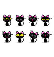 cute black cat characters with different emotions vector image vector image