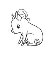 cute piglet with a curly tail sitting outline vector image vector image