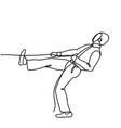 doodle businessman pulling rope strong business vector image vector image