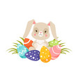 Easter bunny with colorful eggs funny rabbit