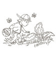easter egg hunter boy vector image vector image