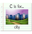 Flashcard letter C is for city vector image vector image
