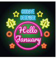 goodbye december hello january spring text sign vector image