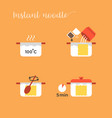 graphic info cooking noodles vector image vector image