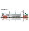 hamburg germany city skyline with gray buildings vector image