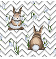 hand drawn easter seamless pattern with hares or vector image vector image