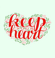 hand lettering with bibe verse keep your heart vector image vector image