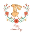 Happy Mothers day card with cute rabbits mom and vector image