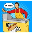 Hot dog guy pop art cartoon style vector image vector image