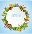 insects round frame vector image