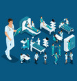 isometric medicine doctor paramedic large surgeon vector image vector image