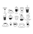 line art set coffee cups vector image