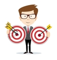 Man holding a target with arrow vector image vector image
