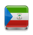 Metal icon of Equatorial Guinea vector image vector image