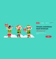 mix race elves girl boy santa claus helper hold vector image