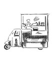 mobile kitchen lunch van black and white sketch vector image vector image