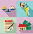 mortgage icons set flat style vector image
