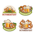 octoberfest beer logo icon set cartoon style vector image