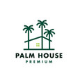 palm tree house logo icon vector image vector image