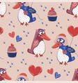 penguin love valentines day seamless pattern vector image vector image