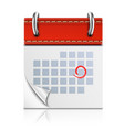 Realistic Isolated Red Calendar Icon vector image vector image