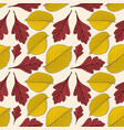 seamless pattern with elm and hawthorn leaves vector image vector image