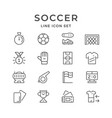 set line icons of soccer vector image vector image