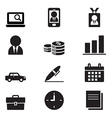 Silhouette Businessman and office tools icon set vector image vector image