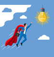 super businessman flying to idea light bulb vector image