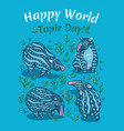 tapirs greeting card blue with light vector image vector image