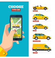 taxi order online hand holding smartphone and vector image vector image