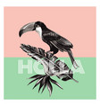 toucan and tropical plants trendy print vector image vector image