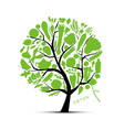 tree with green vegetables sketch for your design vector image vector image