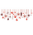 various hanging christmas ornaments on border vector image