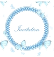 Vintage invitation card with blue butterfly vector image vector image