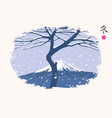 winter east landscape with snow tree and mountain vector image vector image