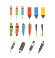 Paint and writing tools collection Flat design vector image