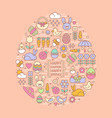 flat outline easter and spring icons vector image