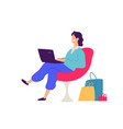 a guy in a chair with shopping positive flat in vector image vector image