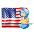 A Muslim praying in front of the USA flag vector image vector image