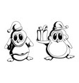 a pair funny penguins in black and white style vector image vector image