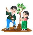 a young father and his daughter planting a tree vector image vector image