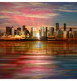 abstract background with panorama of city and pink vector image vector image