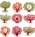 art drawn trees with beautiful blossom and red vector image