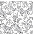 black and white peony flower seamless pattern vector image
