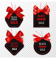 black friday sale labels black and red vector image